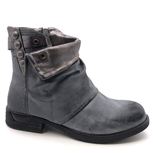 Angkorly - Damen Schuhe Stiefeletten - Biker - Reitstiefel - Kavalier - Classic - Geflochten - große Tasten Blockabsatz 3 cm - Blau F1021 T 40 Biker-taste