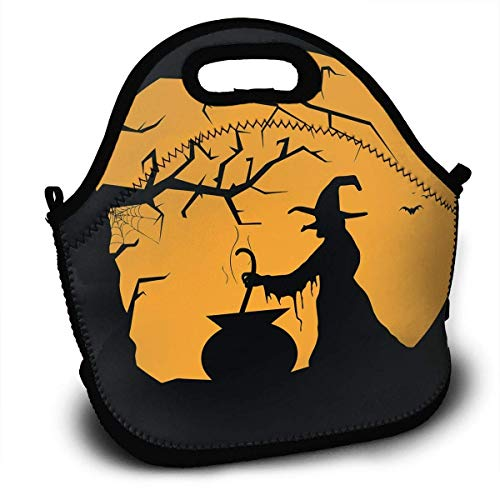Insulated Neoprene Large Lunch Bag Tote - Washable Reusable Thermal Lunch Tote/Lunch Box/Bag Handbag For Women,Men,Kids,Adults For School Work Office and More, Halloween Black Witch