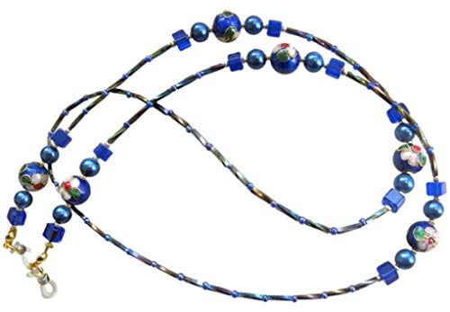 6mm Twisted-bugle (TEN-G ~Blue CLOISSONE~ Beautiful Handcrafted Beaded Spectacles Glasses Chain Eyeglass Holder)
