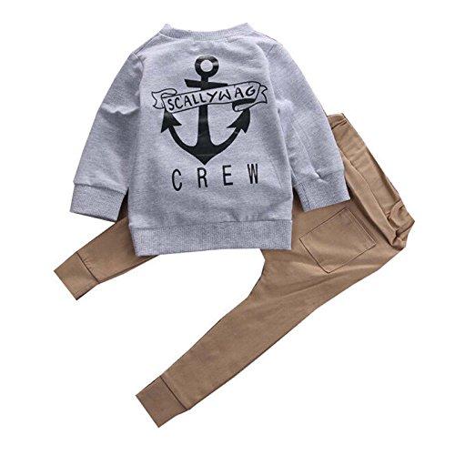 zooarts for0–3Jahren Kids Baby Jungen Lange Ärmel Jumper Tops + Hose Strampler Outfit Boutique Kleidung SET, Baumwollmischung, multi, 70 (0-6 Months) (T-shirts Lange Ärmel Bereich)