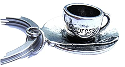 Italian Espresso Coffee Cup Chrome Metal Keyring Gift Boxed