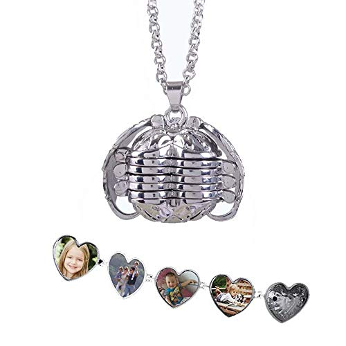 Top WHY Foto Medaillon Engelsflügel Anhänger Halskette, Foto Box Halskette herzförmige Faltbare Multi Layer Halskette Schmuck Geschenk erweitern -