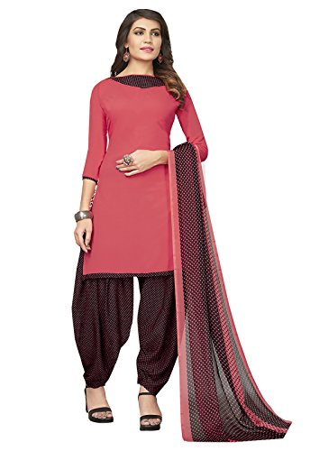 Ishin Synthetic Peach & Black Printed Party Wear Casual Wear New Collection Unstitched Salwar Suit Dress Material (Anarkali/Patiyala) With Dupatta  available at amazon for Rs.499