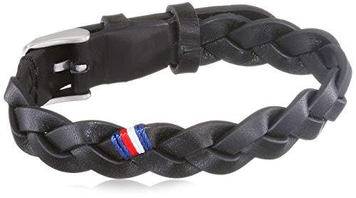 Tommy Hilfiger Casual Core Herren Armband Edelstahl Silber/Leder Schwarz 19 cm