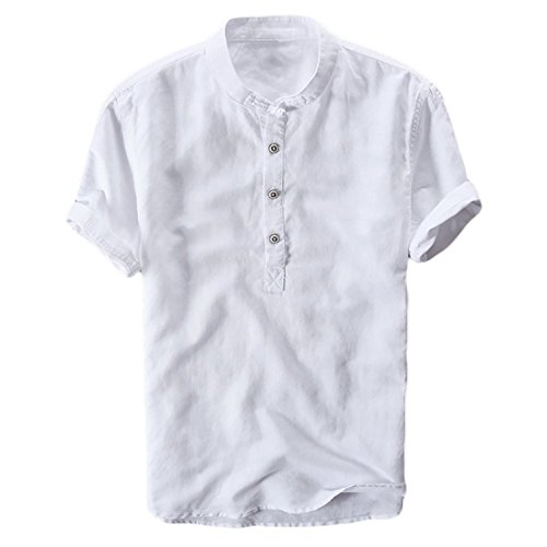 Shelers Herren Leinen Kurzarm Button Kurzarm Leinenhemd Shirt Casual Sommer Herren Weste