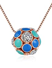 XZP Blue Enameled Soccer Ball Pendant Chain Necklace Rose Gold Plated with Crystals for women