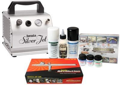 Kit aerografo iwata modeller con compressore silver jet, detergenti e vernici lifecolor