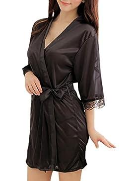 Sidiou Group Vestaglia Kimono Donna Elegante Pigiama Vestaglia Raso Corta Camicie da Notte per Donna Accappatoio...