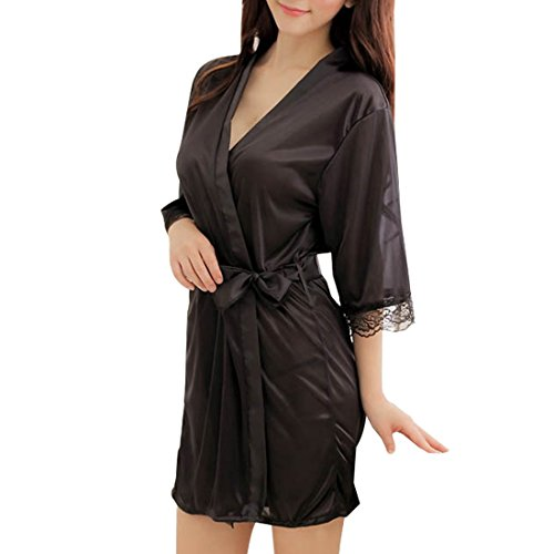 SiDiOU Group Nacht Robe für Frauen Satin Dressing Kleider Robe Imitation Seide Kimono Satin Lingerie Spitze Nachtwäsche Sexy Eis Seide Nachtwäsche (S, Schwarz) (Kimono-robe-kleid)