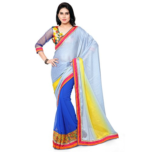 Aagaman Fashions Faux Georgette & Jacquard Saree (PTSN600010_Blue)  available at amazon for Rs.989