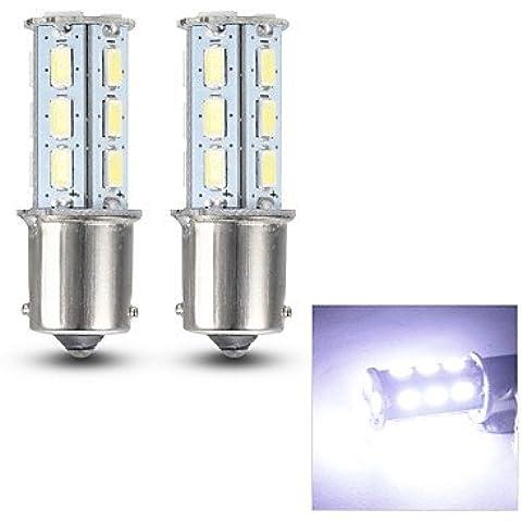 FULLModerna auto Lampadina 1156 0.8W 125LM 18x5630SMD LED bianco segnale di girata / lettura Coppia (Girata Del Lato Del Segnale Indicatore Luminoso)