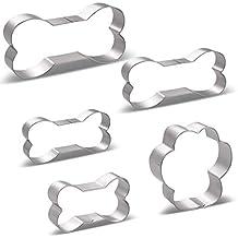 Hueso Forma Cortador de Galletas - 5 Piezas - Huesos de Perro 4 Varios Tamaños,