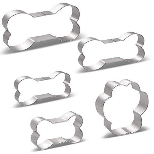 HONYAO Hunde Leckerli Ausstechformen Set - 5 Stück - Hundeknochen 4 Verschiedene Größe, Groß / 13.46cm, Mittel / 11.43cm, Klein / 9.9cm, Mini / 7.62cm & Pfotenabdruck Gestalten - Edelstahl