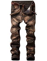 68452e9cbb2 BIRAN Pantalones De Mezclilla De Los Hombres De Pantalones Cintura Media  Único Vaqueros Rectos Retro Destruidos
