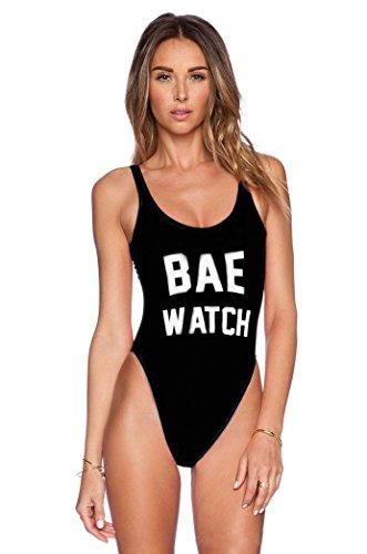 Traje de baño de mujer, Manadlian Traje de baño de las mujeres Sexy sin espalda Trajes de baño Bodysuit Beachwear (S, Negro)