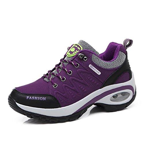 T-Gold Air Zapatillas Deportivas de Mujer Aire Libre Correr Running Gimnasio Zapatos Talón 6 cm(EU 38,Púrpura)