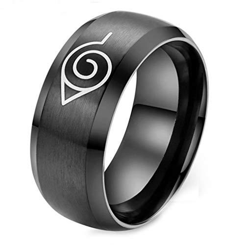 Budazo Herren Schmuck Titan Stahl Anime Naruto Symbol Ringe,Schwarz,Größe 52 (16.6) (Naruto Ringe)