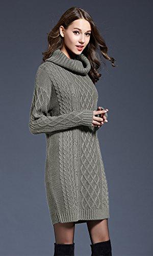 Primavera Donna vintage dolcevita maniche lunghe maglia maglione pullover abito midi vestiti donna manica lunga Grigio