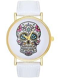 Damenuhr Sugar Candy Skull Tattoo Totenschädel Schädel Ghost Head Armbanduhr Pirat Skulls Totenkopf - White Weiß Weiss Gold