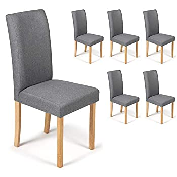 Your Price Furniture.com 6 Dining Chairs Grey Marl Fabric Torino Grey With Padded Seat & Oak Finish Legs