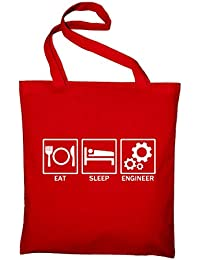 Eat Sleep Engineer Fun Jutebeutel, Beutel, Stoffbeutel, Baumwolltasche