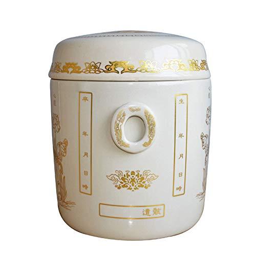 ANFF-urns Andenken Erwachsener Keramik Urnen Asche Der Einäscherung Schatulle Asche Kanister Feuchtigkeitsgeschützte Box Funeral Supplie Vorratsgläser,White -