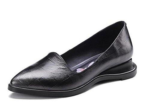 Beauqueen Pompe Slip-on Lerther Elegante Pointrd-Toe Chunky Low Heel Uffici Uffici Casual Scarpe Europa Size 34-39 gun color