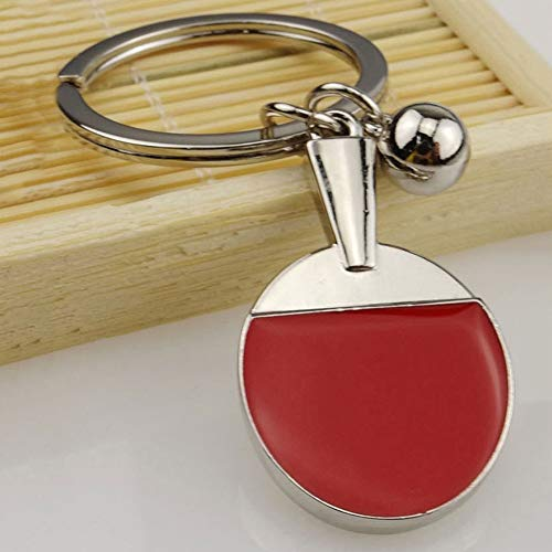 YSHtanj Schlüsselanhänger, Innendekoration, Schlüsselanhänger, Pingpong, Schläger, Ball, Tischtennisschläger, Schlüsselanhänger, Auto-Schlüsselanhänger, Dekorationsring, Geschenk - Silber + Rot -