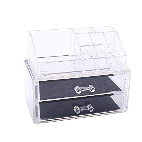 Kicode Makeup Organizer KosmetikToiletry Desktop Aufbewahrungsbox Schmuck Container Lagerung Dawer Nagellack Lippenstift Halter Clear 3 Ebenen (Billig Nagellack-organizer)