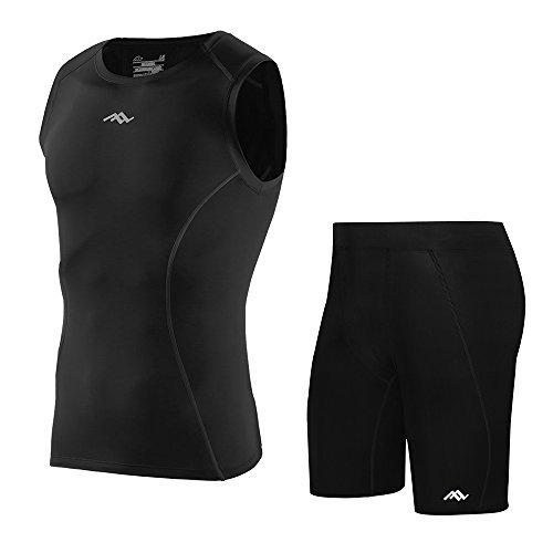 Lixada abbigliamento ciclismo uomo compressione senza maniche asciugatura veloce camicia maglietta+pantaloncini sportivi underwear running calzamaglia pantaloncini …