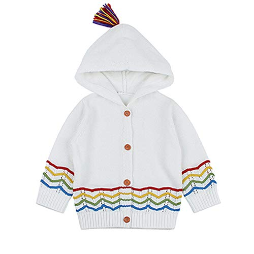 QIQI Kinder-Knit Sweater, Baby Long Sleeve Knit Sweater Stripe Solid Color Warm Jacket Herbst Winter Girl Kostüm,White,90cm (White Girl Kostüm)