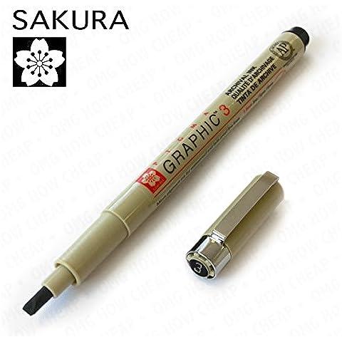 Sakura Pigma Graphic-Inchiostro per scrittura calligrafica, singolo, 3,0 mm, colore: nero
