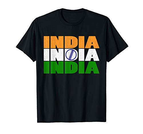 India Cricket Flag With Indian CricketBall T-Shirt