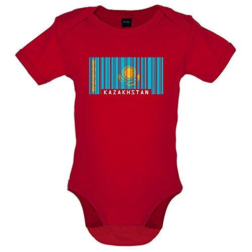 Kazakhstan / Kasachstan Barcode Flagge - Lustiger Baby-Body - Rot - 0 bis 3 Monate (Russische Lustige Geschenke)