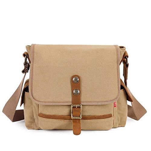 Womdee Herren Canvas Messenger Bag Laptop Messenger Bag Vintage Canvas Laptop Tasche für Schule und Arbeit Coffee