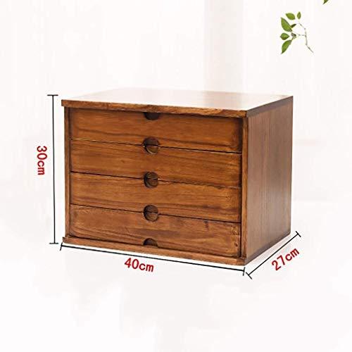 Briefablage Schubladenbox Schubladenschrank Office-Desktop-Aufbewahrungsbox Shelf Datenrahmen aus Massivholz 4 Boden Aufbewahrungsbox kleine Kommode Daten Aktenschrank Setzen A4-Papier