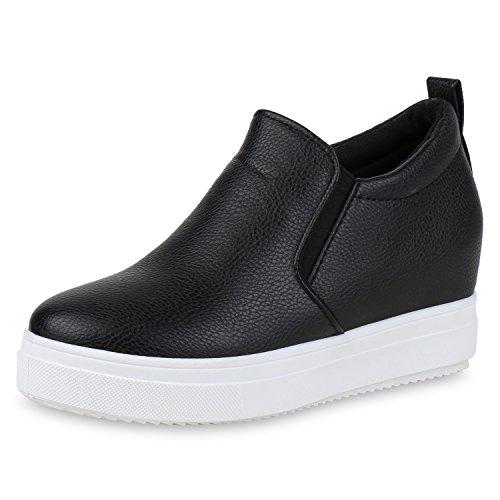 SCARPE VITA Damen Sneaker Wedges Slippers Metallic Leder-Optik Plateau Schuhe 159398 Schwarz 39
