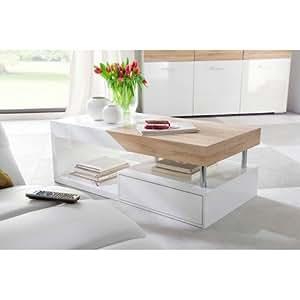 Table basse blanche/chêne sonoma KANSIA