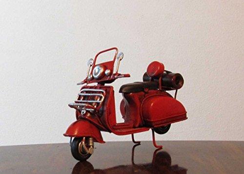 Nostalgie Blech Roller mit Windschild Rot kleines Modell Deko