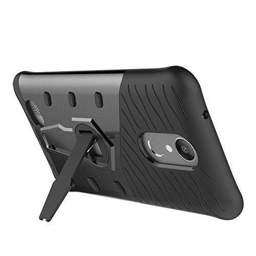 Dual Layer PC + Soft TPU Armor Defender Case Heavy Duty Vollschutz 360 ° Drehbarer Stand Shockproof (Stoßdämpfung) Abdeckung Für LG K10 2017 ( Color : Black ) Black