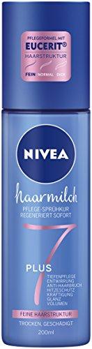 Nivea Haarmilch Pflege-Sprühkur für feine Haarstruktur im 2er Pack (2 x 200 ml), duftendes Hitzeschutzspray ohne Mineralöle, entwirrendes Pflegespray zur Kräftigung & gegen Haarbruch -