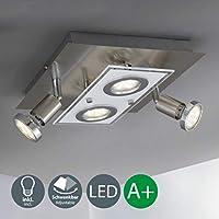 Plafoniera LED da soffitto, lampada moderna quadrata da soffitto, 2 luci rotonde fisse e 2 luci orientabili, corpo metallo e vetro, color nickel opaco, incl. 4 lampadine da 3W 230V GU10 IP20
