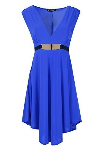 Damen Drapiert Tief V Tief Ausgeschnitten Asymmetrisch Gerüscht Ausgestellt Minikleid Top Königsblau