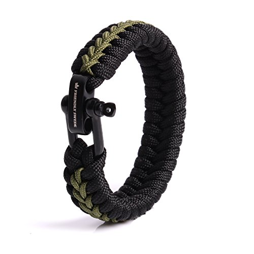 The Friendly Swede Paracord Survival Armband mit Micro-Cord - größenverstellbar (Armeegrün Small) (Für Jugendliche Zelte)