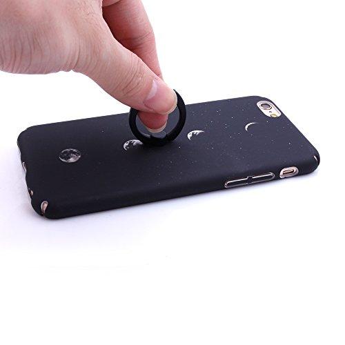 """iProtect Hardcase mit Ring Halter Marmor Design Schutzhülle in Schwarz mit Fingerhalterung für Apple iPhone 6 6s (4,7"""") Mondphasen Schwraz"""