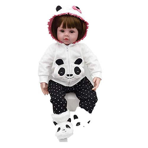 Panda Neugeborene Kostüm - LIULAOHAN Simulation Babypuppe, Weiches Vinyl Silikon Leben wie Wiedergeburt Babypuppe Bob Haar Neugeborene Puppe Mit Panda Kostüm Kinder über 2 Jahre wachsen als Geschenkbadepartne