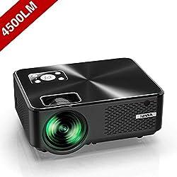 Vidéoprojecteur, YABER Mini Projecteur Portable 4500 Lumens Résolution Native 1280*720p, Retroprojecteur avec Haut-parleurs Stéréo HiFi, Couvercle en Métal, Supporte HDMI / USB / VGA / AV