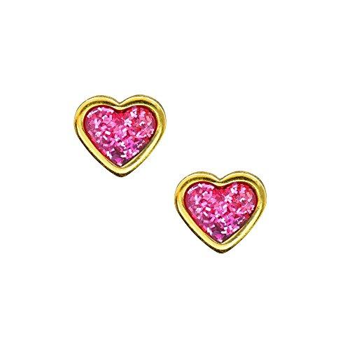 Studex Sensitive Ohrstecker vergoldet 6mm Herz mit Glitter Mitte pink