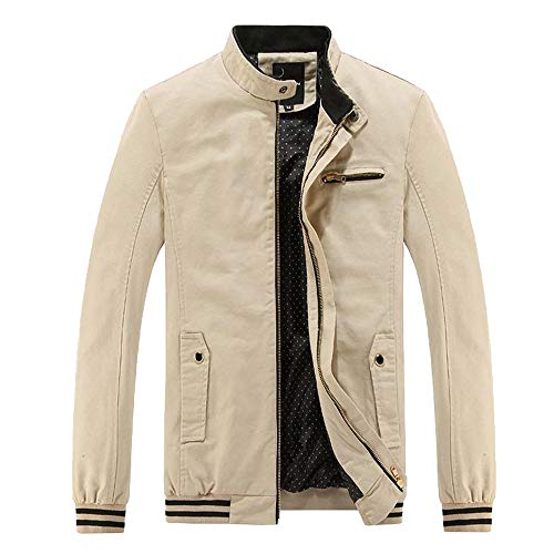 Xmiral Herren Jacke Mantel Outwear Winter Warm Schlank Lange Reißverschluss Mantel Bluse (EU 38,Khaki)