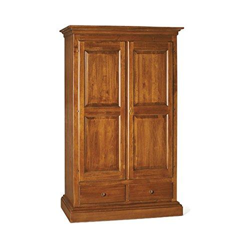 Inhouse srls armadio a 2 ante cappello dritto, arte povera, in legno massello e mdf con rifinitura in noce lucido - mis. 125 x 61 x 200